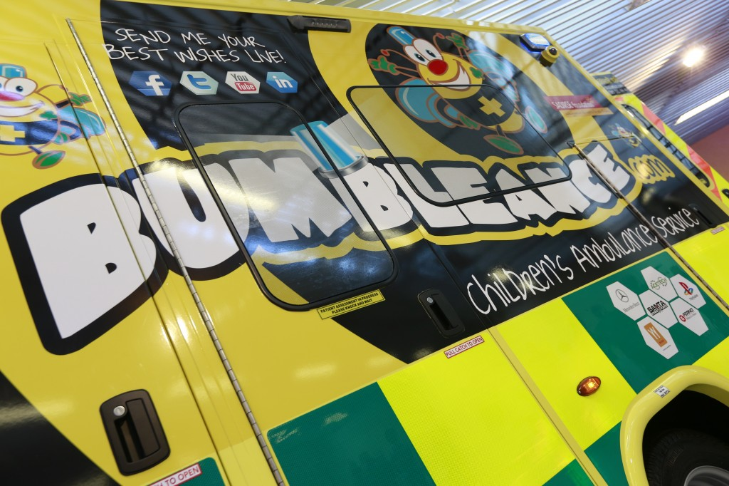 BUMBLEance ambulance 'Lining Up To Walk across Fire for Sick Children' for the BUMBLEance part of The Saoirse Foundation.
