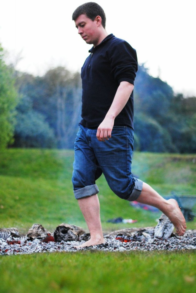 Volunteer showing now to walk across Fire with FireWalking Ireland
